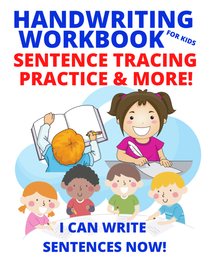 Book Cover: Handwriting Workbook for Kids: Sentence Tracing Practice & More. I Can Write Sentences Now!
