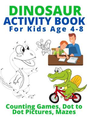 Book Cover: Dinosaur Activity Book for Kids Age 4-8