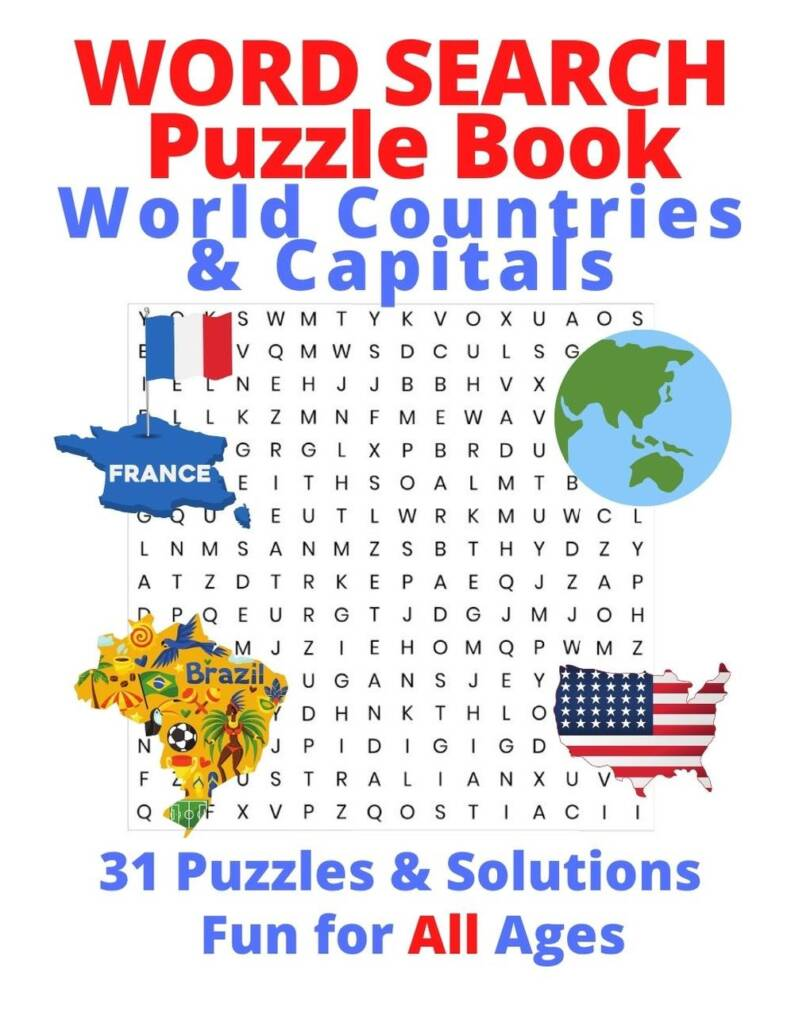 Book Cover: Word Search - World Countries & Capitals - For Kids or Adults